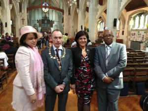 From left to right: Angela Edwards, High Commission of Jamaica ; Cllr Steve Rackett, Chair of Watford Borough Council ; Renuka Koninger, High Commission of Trinidad & Tobago ; Clive Saunders, Chair of the Watford African Caribbean Association